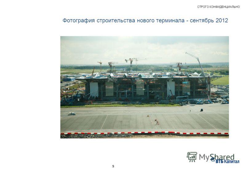 Фотография строительства нового терминала - сентябрь 2012 НАШ ОПЫТ – ПРИМЕРЫ РЕАЛИЗОВАННЫХ ПРОЕКТОВ СТРОГО КОНФИДЕНЦИАЛЬНО 9