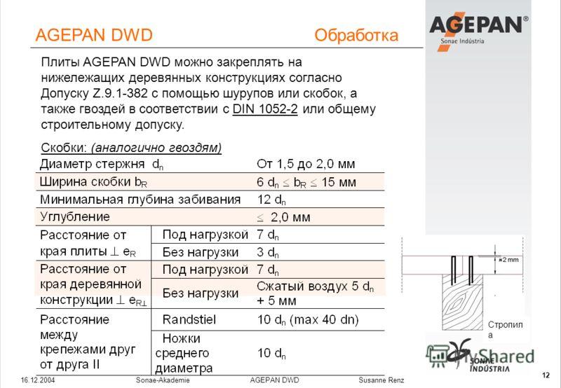 16.12.2004Sonae-Akademie AGEPAN DWD Susanne Renz 12 Плиты AGEPAN DWD можно закреплять на нижележащих деревянных конструкциях согласно Допуску Z.9.1-382 с помощью шурупов или скобок, а также гвоздей в соответствии с DIN 1052-2 или общему строительному