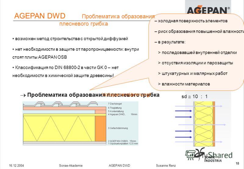 16.12.2004Sonae-Akademie AGEPAN DWD Susanne Renz 18 возможен метод строительства с открытой диффузией нет необходимости в защите от паропроницаемости: внутри стоят плиты AGEPAN OSB Классификация по DIN 68800-2 в части GK 0 – нет необходимости в химич