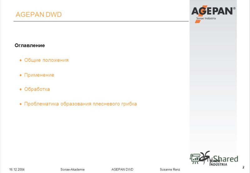 16.12.2004Sonae-Akademie AGEPAN DWD Susanne Renz 2 AGEPAN DWD Оглавление Общие положения Применение Обработка Проблематика образования плесневого грибка