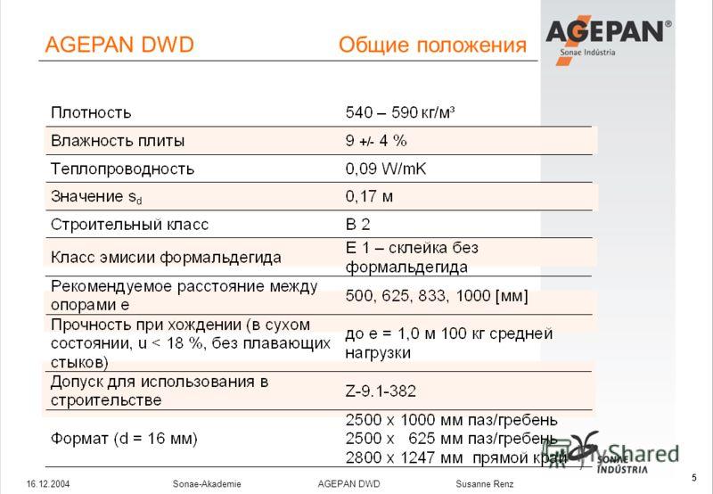16.12.2004Sonae-Akademie AGEPAN DWD Susanne Renz 5 AGEPAN DWD Общие положения
