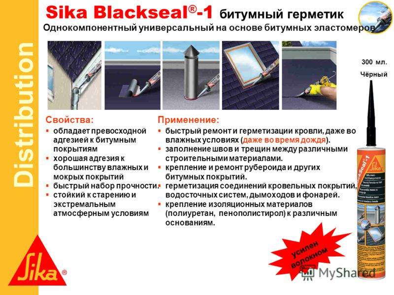 Distribution Sika Blackseal ® -1 битумный герметик Однокомпонентный универсальный на основе битумных эластомеров Свойства: обладает превосходной адгезией к битумным покрытиям хорошая адгезия к большинству влажных и мокрых покрытий быстрый набор прочн