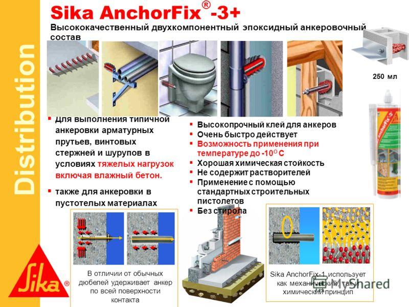 Distribution 250 мл Высококачественный двухкомпонентный эпоксидный анкеровочный состав Для выполнения типичной анкеровки арматурных прутьев, винтовых стержней и шурупов в условиях тяжелых нагрузок включая влажный бетон. также для анкеровки в пустотел