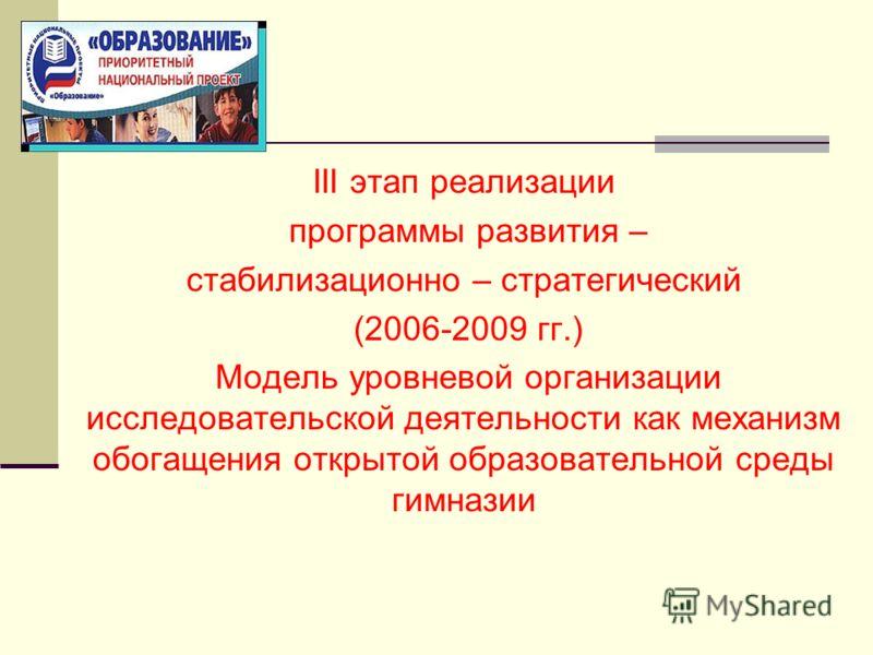III этап реализации программы развития – стабилизационно – стратегический (2006-2009 гг.) Модель уровневой организации исследовательской деятельности как механизм обогащения открытой образовательной среды гимназии
