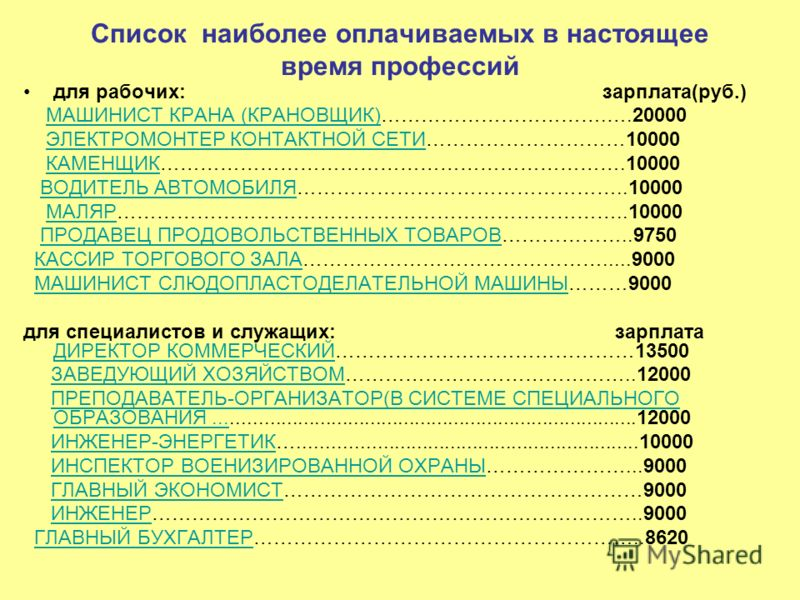 Список наиболее оплачиваемых в настоящее время профессий для рабочих: зарплата(руб.) МАШИНИСТ КРАНА (КРАНОВЩИК)…………………………….….20000МАШИНИСТ КРАНА (КРАНОВЩИК) ЭЛЕКТРОМОНТЕР КОНТАКТНОЙ СЕТИ…………………………10000ЭЛЕКТРОМОНТЕР КОНТАКТНОЙ СЕТИ КАМЕНЩИК……………………………