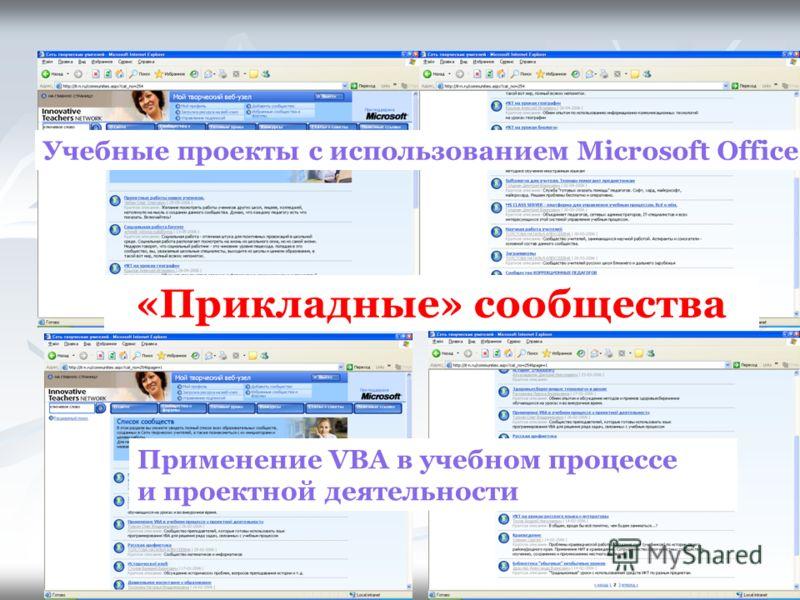 «Прикладные» сообщества Учебные проекты с использованием Microsoft Office Применение VBA в учебном процессе и проектной деятельности