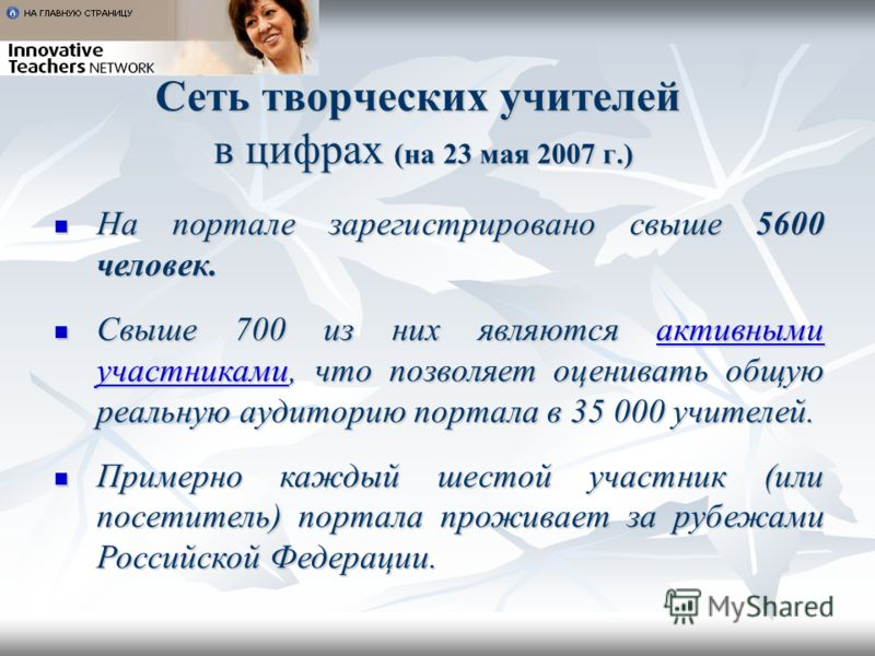 Сеть творческих учителей в цифрах (на 23 мая 2007 г.) На портале зарегистрировано свыше 5600 человек. На портале зарегистрировано свыше 5600 человек. Свыше 700 из них являются активными участниками, что позволяет оценивать общую реальную аудиторию по