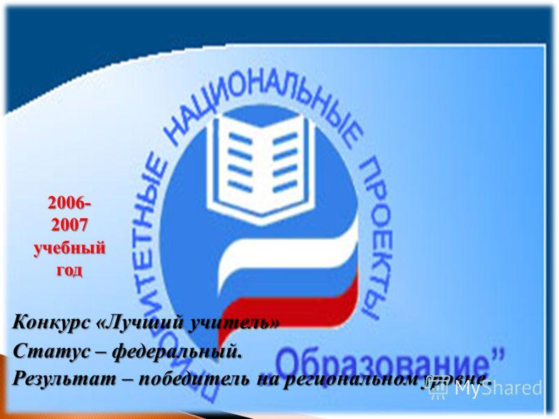 Конкурс «Лучший учитель» Статус – федеральный. Результат – победитель на региональном уровне. 2006-2007 учебный год