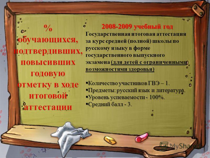 2008-2009 учебный год Государственная итоговая аттестация за курс средней (полной) школы по русскому языку в форме государственного выпускного экзамена (для детей с ограниченными возможностями здоровья) Количество участников ГВЭ – 1. Количество участ