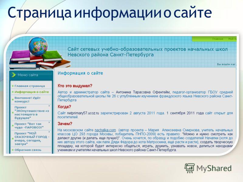 Страница информации о сайте