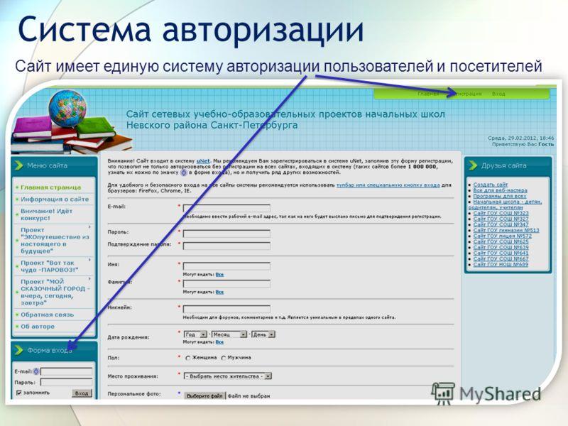 Система авторизации Сайт имеет единую систему авторизации пользователей и посетителей
