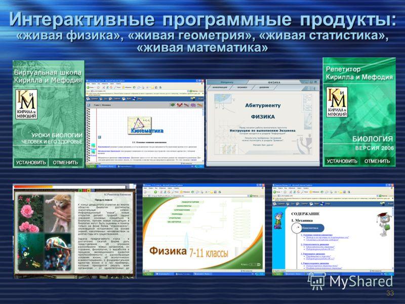 33 Интерактивные программные продукты: «живая физика», «живая геометрия», «живая статистика», «живая математика»