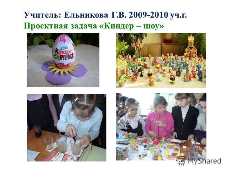Учитель: Ельникова Г.В. 2009-2010 уч.г. Проектная задача «Киндер – шоу»