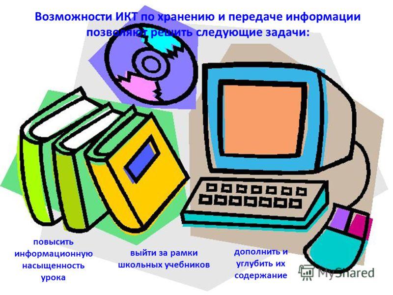 Возможности ИКТ по хранению и передаче информации позволяют решить следующие задачи: повысить информационную насыщенность урока выйти за рамки школьных учебников дополнить и углубить их содержание