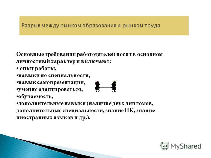 Основные требования работодателей носят в основном личностный характер и включают: опыт работы, навыки по специальности, навык самопрезентации, умение адаптироваться, обучаемость, дополнительные навыки (наличие двух дипломов, дополнительные специальн