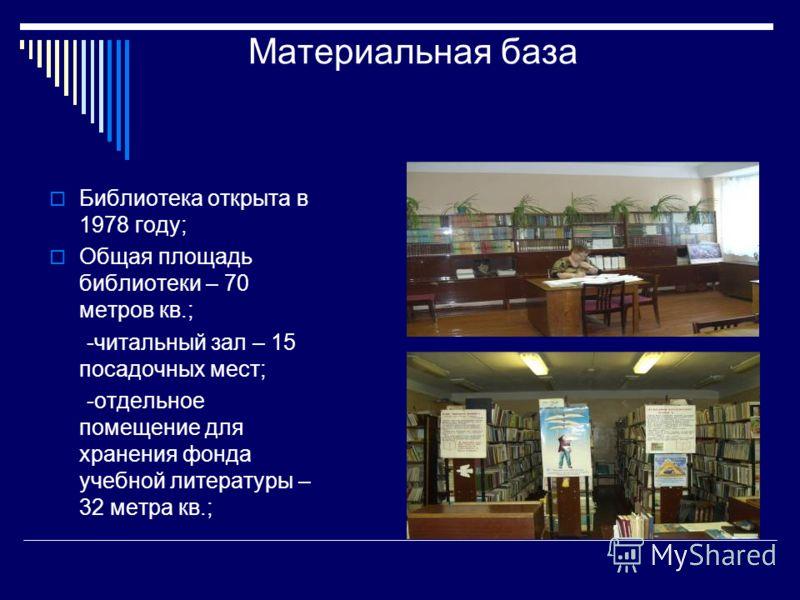 Материальная база Библиотека открыта в 1978 году; Общая площадь библиотеки – 70 метров кв.; -читальный зал – 15 посадочных мест; -отдельное помещение для хранения фонда учебной литературы – 32 метра кв.;