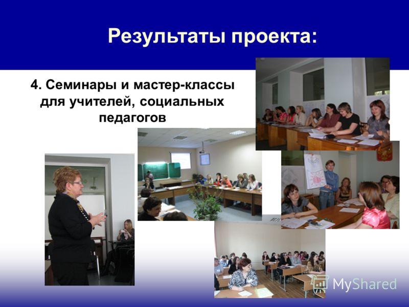 Результаты проекта: 4. Семинары и мастер-классы для учителей, социальных педагогов