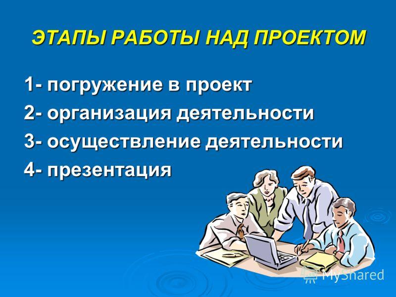 ЭТАПЫ РАБОТЫ НАД ПРОЕКТОМ 1- погружение в проект 2- организация деятельности 3- осуществление деятельности 4- презентация