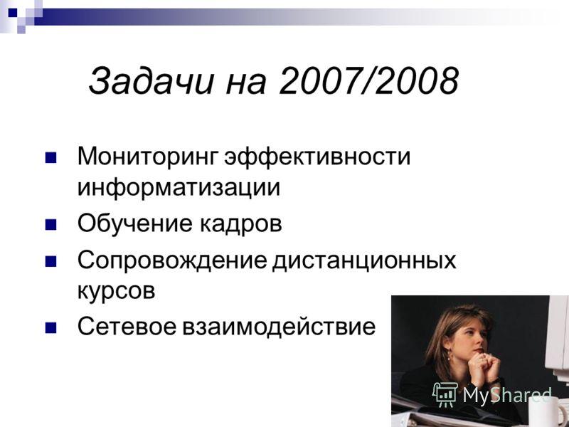 Задачи на 2007/2008 Мониторинг эффективности информатизации Обучение кадров Сопровождение дистанционных курсов Сетевое взаимодействие