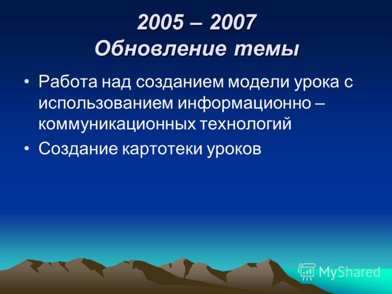 2005 – 2007 Обновление темы Работа над созданием модели урока с использованием информационно – коммуникационных технологий Создание картотеки уроков