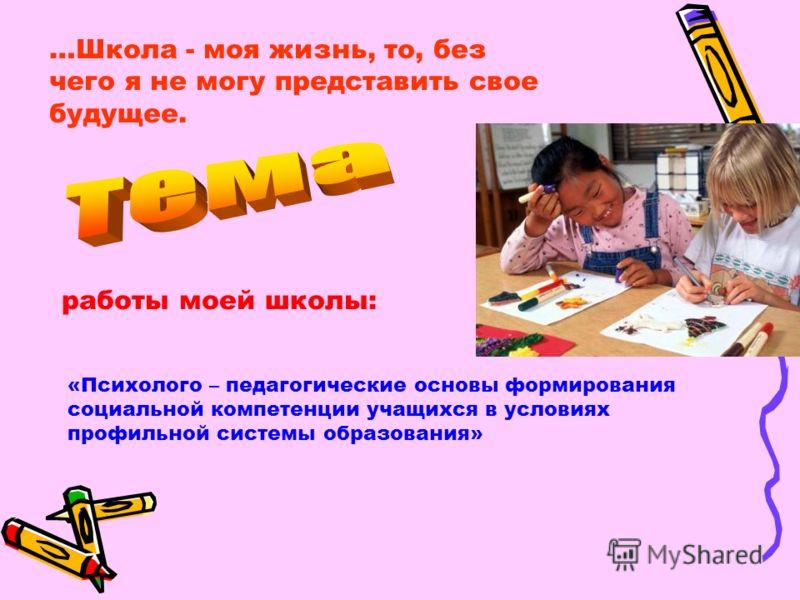 …Школа - моя жизнь, то, без чего я не могу представить свое будущее. работы моей школы: «Психолого – педагогические основы формирования социальной компетенции учащихся в условиях профильной системы образования»