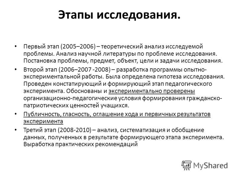 Этапы исследования. Первый этап (2005–2006) – теоретический анализ исследуемой проблемы. Анализ научной литературы по проблеме исследования. Постановка проблемы, предмет, объект, цели и задачи исследования. Второй этап (2006–2007 -2008) – разработка