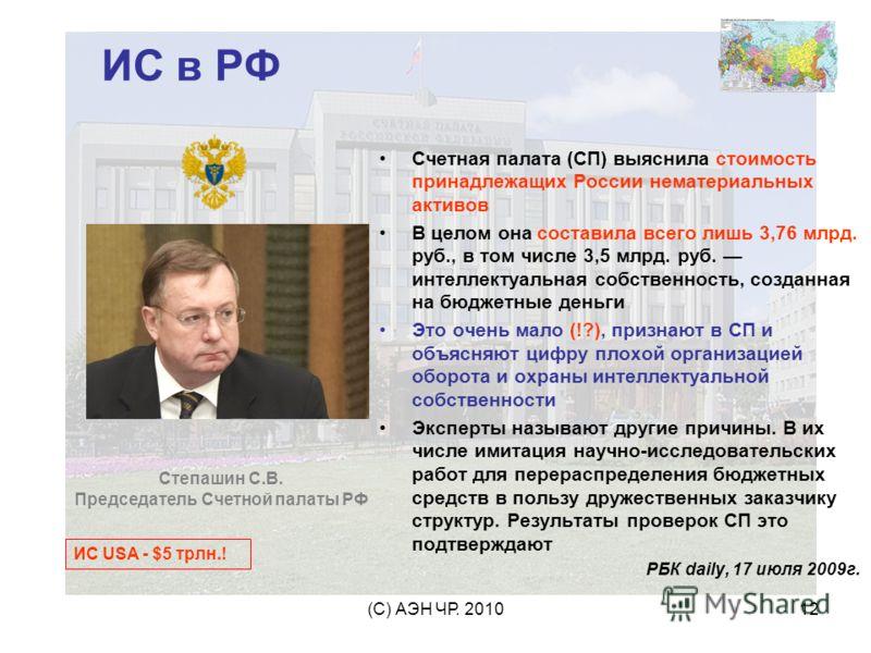 (С) АЭН ЧР. 201012 ИС в РФ Счетная палата (СП) выяснила стоимость принадлежащих России нематериальных активов В целом она составила всего лишь 3,76 млрд. руб., в том числе 3,5 млрд. руб. интеллектуальная собственность, созданная на бюджетные деньги Э