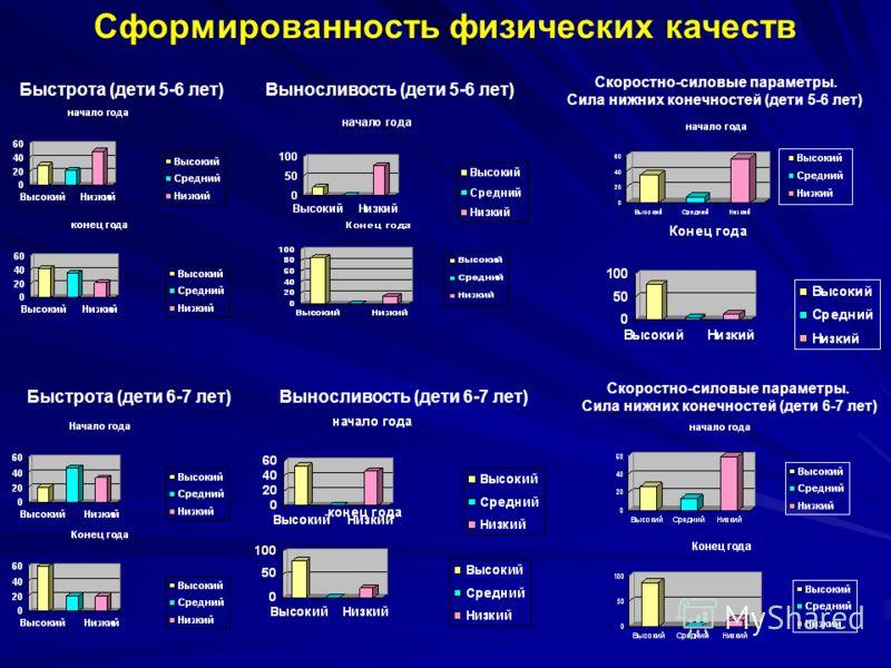Сформированность физических качеств Быстрота (дети 5-6 лет) Быстрота (дети 6-7 лет) Выносливость (дети 5-6 лет) Выносливость (дети 6-7 лет) Скоростно-силовые параметры. Сила нижних конечностей (дети 5-6 лет) Скоростно-силовые параметры. Сила нижних к