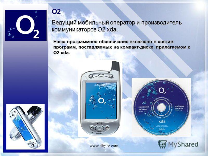 www.digsee.com10 O2 Ведущий мобильный оператор и производитель коммуникаторов O2 xda. Наше программное обеспечение включено в состав программ, поставляемых на компакт-диске, прилагаемом к O2 xda.