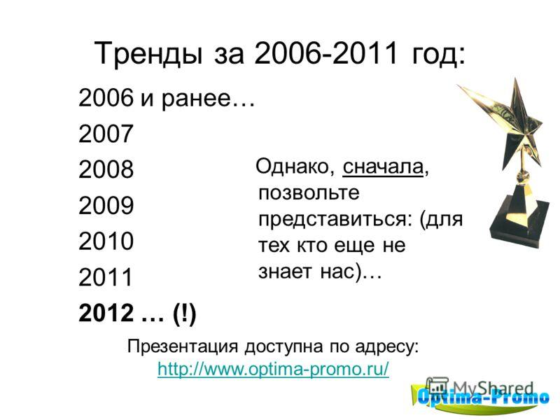 Тренды за 2006-2011 год: 2006 и ранее… 2007 2008 2009 2010 2011 2012 … (!) Однако, сначала, позвольте представиться: (для тех кто еще не знает нас)… Презентация доступна по адресу: http://www.optima-promo.ru/ http://www.optima-promo.ru/