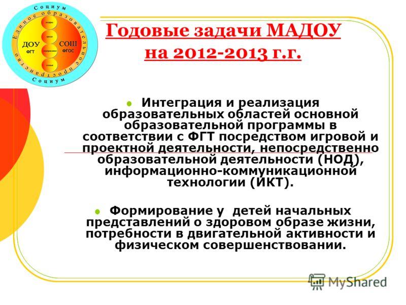 Годовые задачи МАДОУ на 2012-2013 г.г. Интеграция и реализация образовательных областей основной образовательной программы в соответствии с ФГТ посредством игровой и проектной деятельности, непосредственно образовательной деятельности (НОД), информац