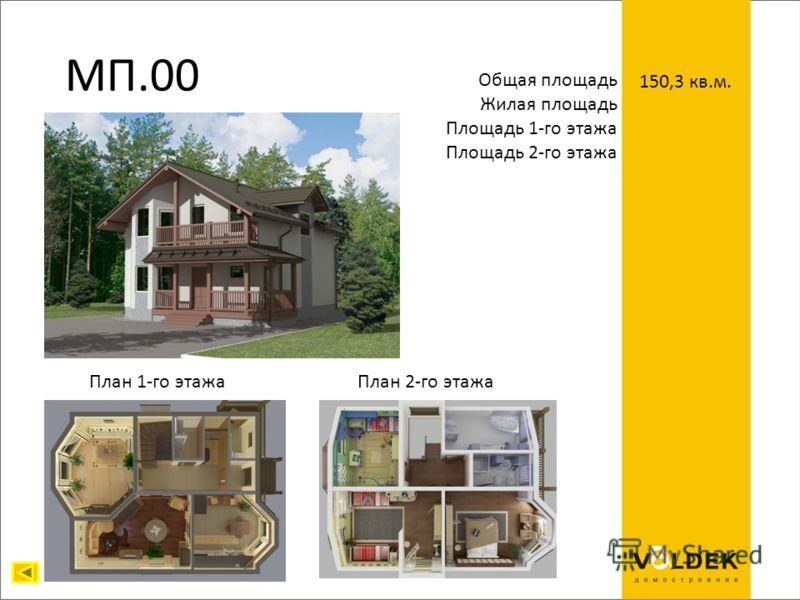 МП.00 Общая площадь Жилая площадь Площадь 1-го этажа Площадь 2-го этажа 150,3 кв.м. План 1-го этажаПлан 2-го этажа