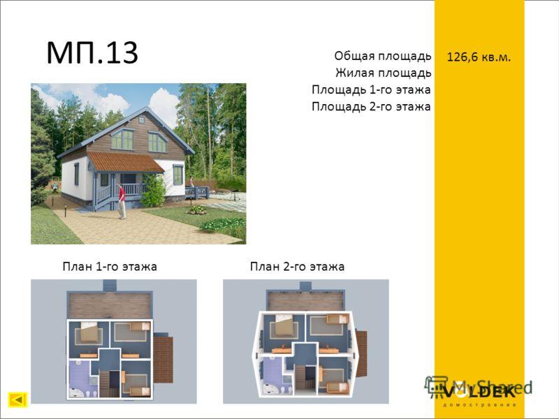 МП.13 Общая площадь Жилая площадь Площадь 1-го этажа Площадь 2-го этажа 126,6 кв.м. План 1-го этажаПлан 2-го этажа