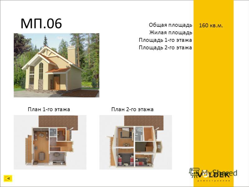 МП.06 Общая площадь Жилая площадь Площадь 1-го этажа Площадь 2-го этажа 160 кв.м. План 1-го этажаПлан 2-го этажа