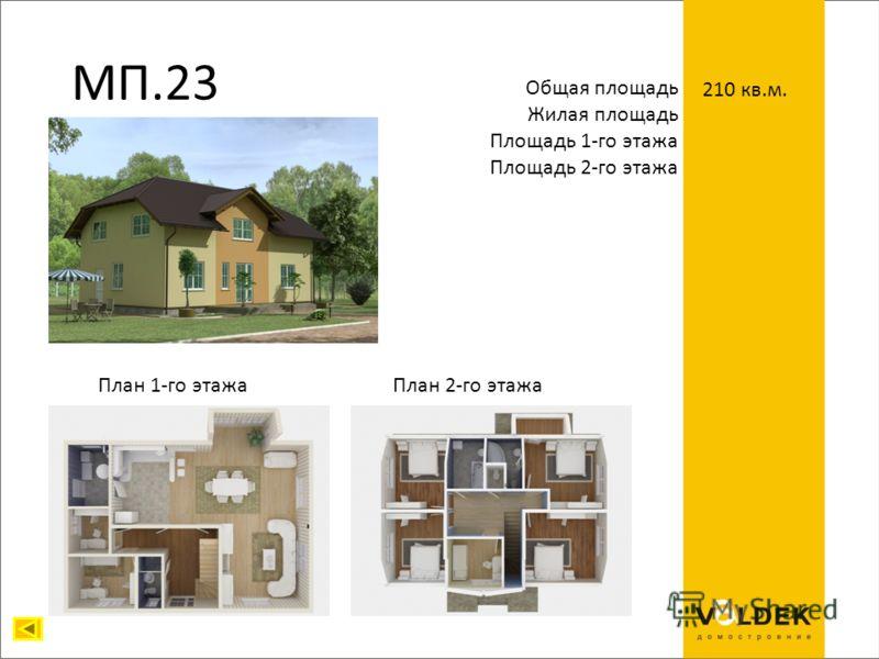 МП.23 Общая площадь Жилая площадь Площадь 1-го этажа Площадь 2-го этажа 210 кв.м. План 1-го этажаПлан 2-го этажа