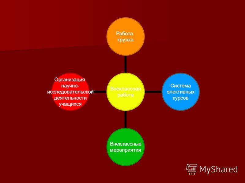 Внеклассная работа Работа кружка Система элективных курсов Внеклассные мероприятия Организация научно- исследовательской деятельности учащихся
