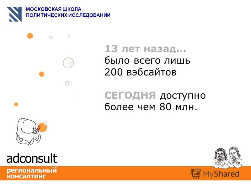 МОСКОВСКАЯ ШКОЛА ПОЛИТИЧЕСКИХ ИССЛЕДОВАНИЙ 13 лет назад… было всего лишь 200 вэбсайтов СЕГОДНЯ доступно более чем 80 млн.