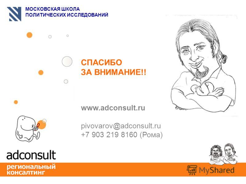 МОСКОВСКАЯ ШКОЛА ПОЛИТИЧЕСКИХ ИССЛЕДОВАНИЙ СПАСИБО ЗА ВНИМАНИЕ!! www.adconsult.ru pivovarov@adconsult.ru +7 903 219 8160 (Рома)