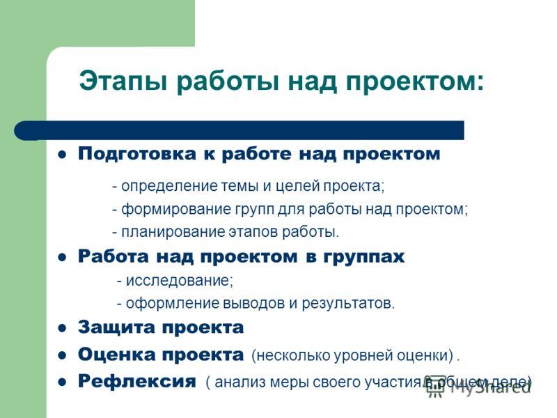 Этапы работы над проектом: Подготовка к работе над проектом - определение темы и целей проекта; - формирование групп для работы над проектом; - планирование этапов работы. Работа над проектом в группах - исследование; - оформление выводов и результат