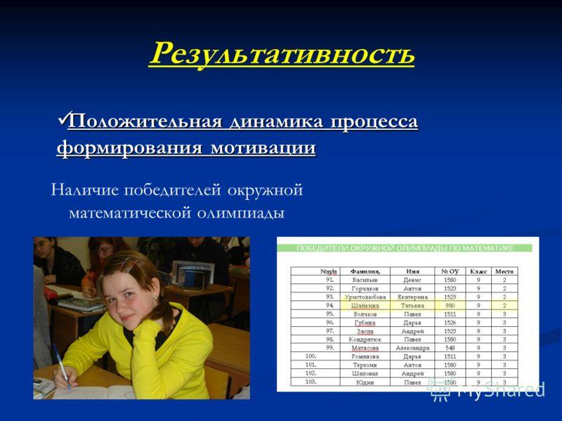 Результативность Положительная динамика процесса формирования мотивации Положительная динамика процесса формирования мотивации Наличие победителей окружной математической олимпиады