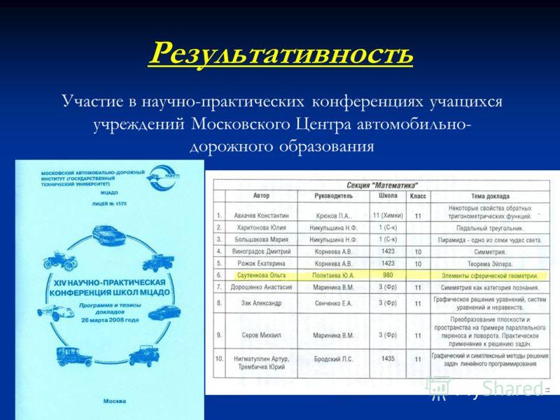 Участие в научно-практических конференциях учащихся учреждений Московского Центра автомобильно- дорожного образования