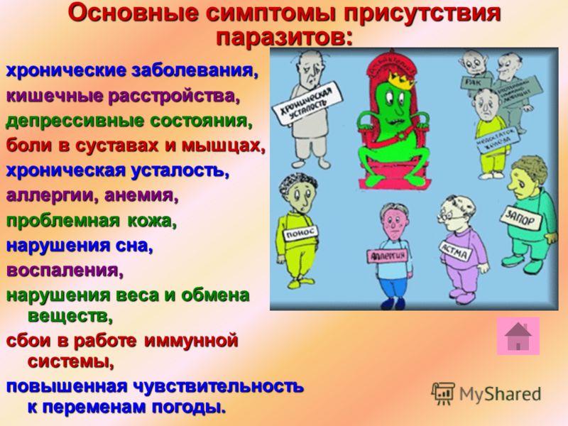 Основные симптомы присутствия паразитов: хронические заболевания, кишечные расстройства, депрессивные состояния, боли в суставах и мышцах, хроническая усталость, аллергии, анемия, проблемная кожа, нарушения сна, воспаления, нарушения веса и обмена ве