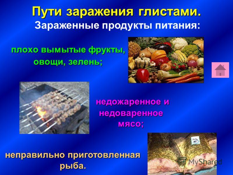Пути заражения глистами. плохо вымытые фрукты, плохо вымытые фрукты, овощи, зелень; овощи, зелень; неправильно приготовленная рыба. недожаренное и недоваренное мясо; Зараженные продукты питания:
