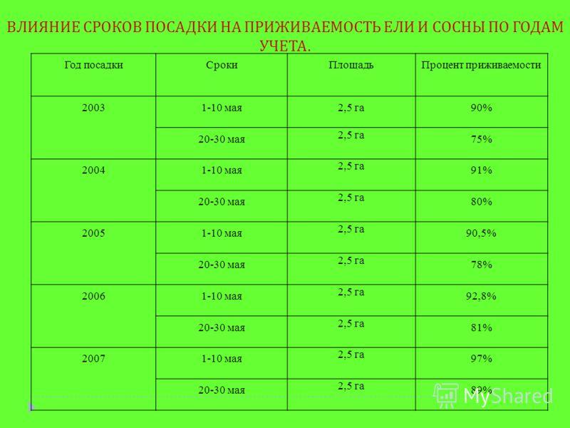 Год посадкиСрокиПлощадьПроцент приживаемости 20031-10 мая2,5 га90% 20-30 мая 2,5 га 75% 20041-10 мая 2,5 га 91% 20-30 мая 2,5 га 80% 20051-10 мая 2,5 га 90,5% 20-30 мая 2,5 га 78% 20061-10 мая 2,5 га 92,8% 20-30 мая 2,5 га 81% 20071-10 мая 2,5 га 97%
