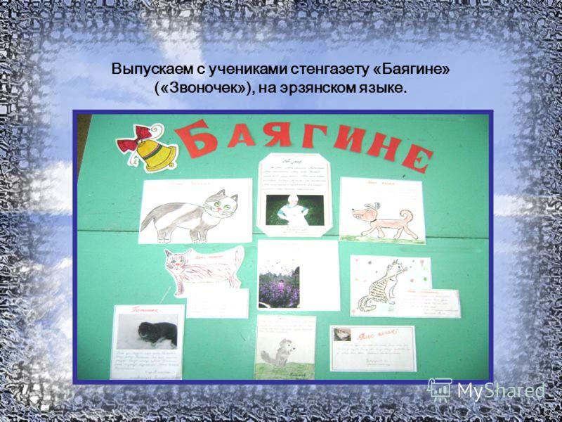 Выпускаем с учениками стенгазету «Баягине» («Звоночек»), на эрзянском языке.