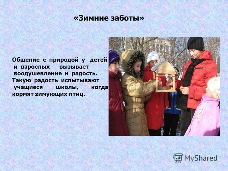 «Зимние заботы» Общение с природой у детей и взрослых вызывает воодушевление и радость. Такую радость испытывают учащиеся школы, когда кормят зимующих птиц.
