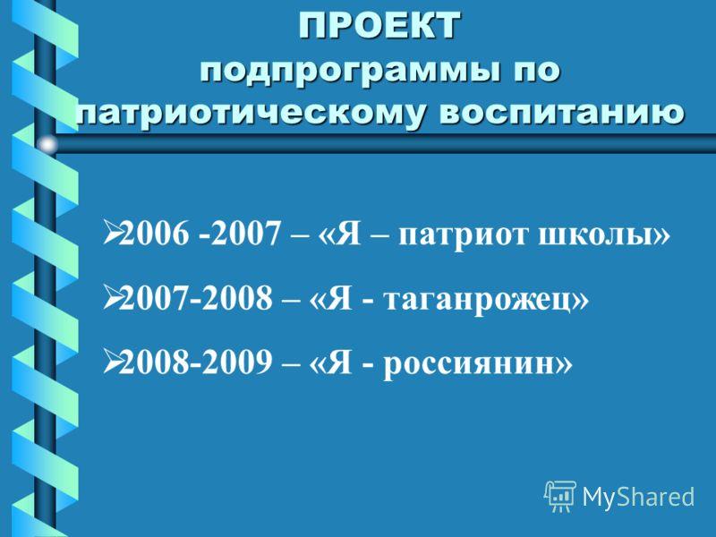 ПРОЕКТ подпрограммы по патриотическому воспитанию 2006 -2007 – «Я – патриот школы» 2007-2008 – «Я - таганрожец» 2008-2009 – «Я - россиянин»