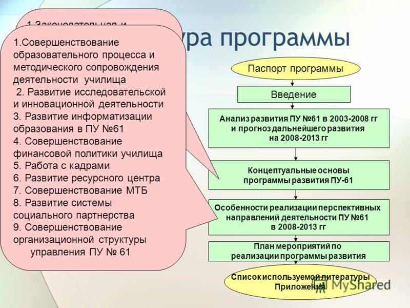 Структура программы Паспорт программы Введение Анализ развития ПУ 61 в 2003-2008 гг и прогноз дальнейшего развития на 2008-2013 гг Концептуальные основы программы развития ПУ-61 Особенности реализации перспективных направлений деятельности ПУ 61 в 20