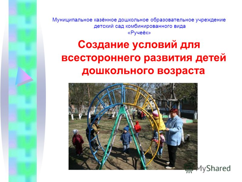 Муниципальное казённое дошкольное образовательное учреждение детский сад комбинированного вида «Ручеёк» Создание условий для всестороннего развития детей дошкольного возраста