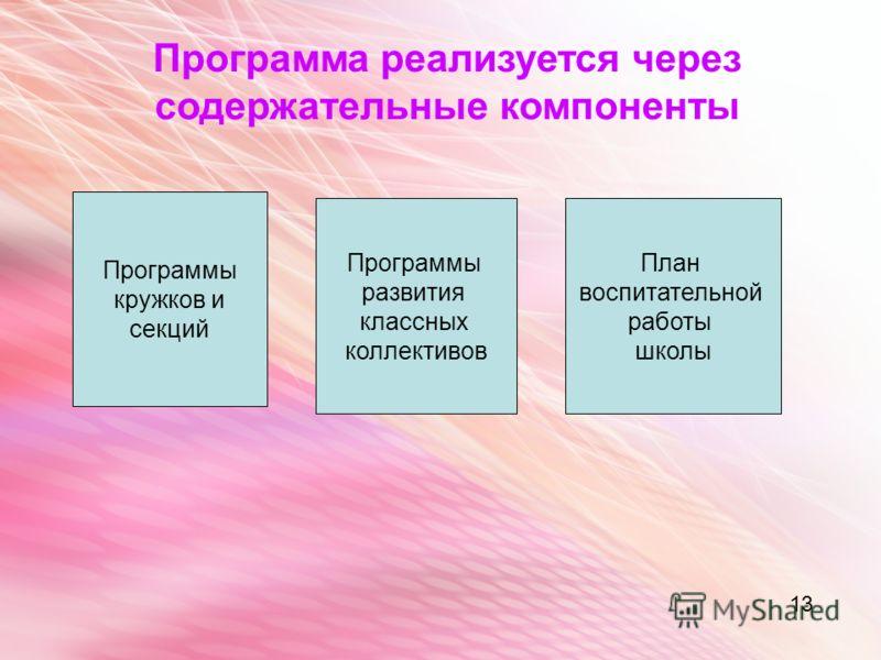 13 Программы кружков и секций Программы развития классных коллективов План воспитательной работы школы Программа реализуется через содержательные компоненты 13